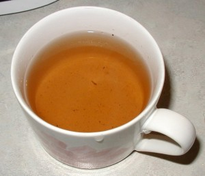 Cup of sassafras tea.