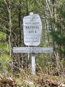 Sign at the entrance of the Box Huckleberry Natural Area