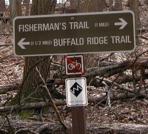 Signpost for the Fisherman's Trail at Little Buffalo State Park