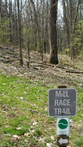Trail sign for Mill Race Trail at Little Buffalo State Park.