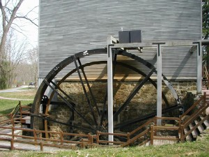 Shoaff's mill large steel water wheel.