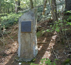 Stone monolith to mark the Natural Historic Landmark.
