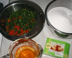 Ingredients prepared for making hot pepper jam.
