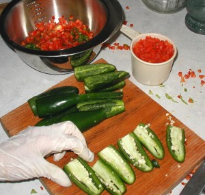 Jalapeño peppers were handled with latex gloves.