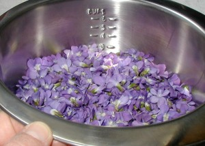 Three cups of loosely packed violet flowers.