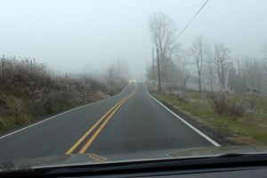 Oncoming Headlights in the Ice Fog