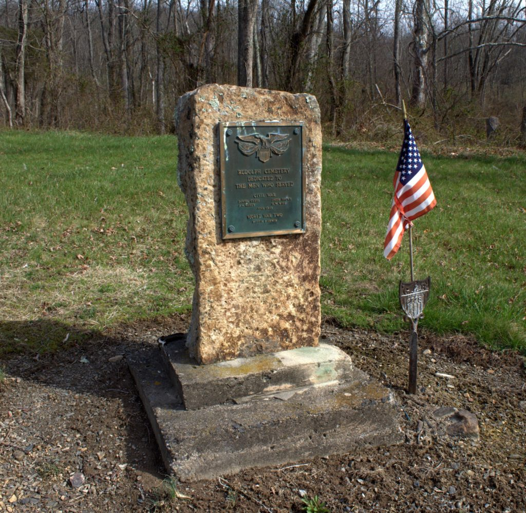 Monument to Civil War and WWII Fallen at Rudolph Cemetery